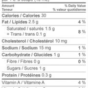 Neilson Cream 18% Nutritional Information